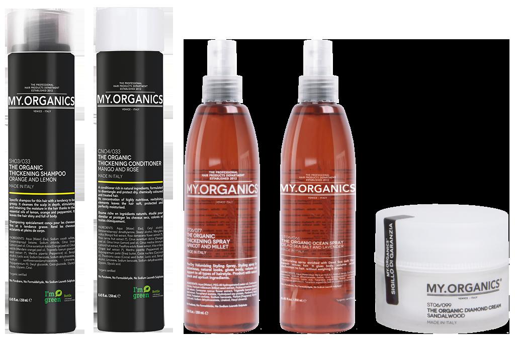 THICKENING LINE: linea di prodotti per capelli secchi, stressati e fragili e per il cuoio capelluto - MY.ORGANICS